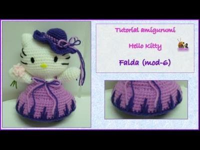 Tutorial amigurumi Hello Kitty - Falda (mod-6)