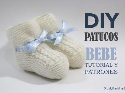 Tutorial y patrones patucos de bebé tejidos