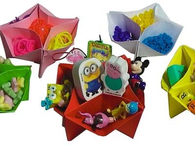Tutoriales origami: Como hacer una caja organizadora de papel circular facil principiantes y niños