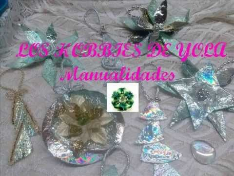 Adornos navideños con CD's. Christmas ornaments out of CD's