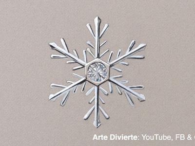 Cómo dibujar un copo de nieve - Adorno navideño con diamante