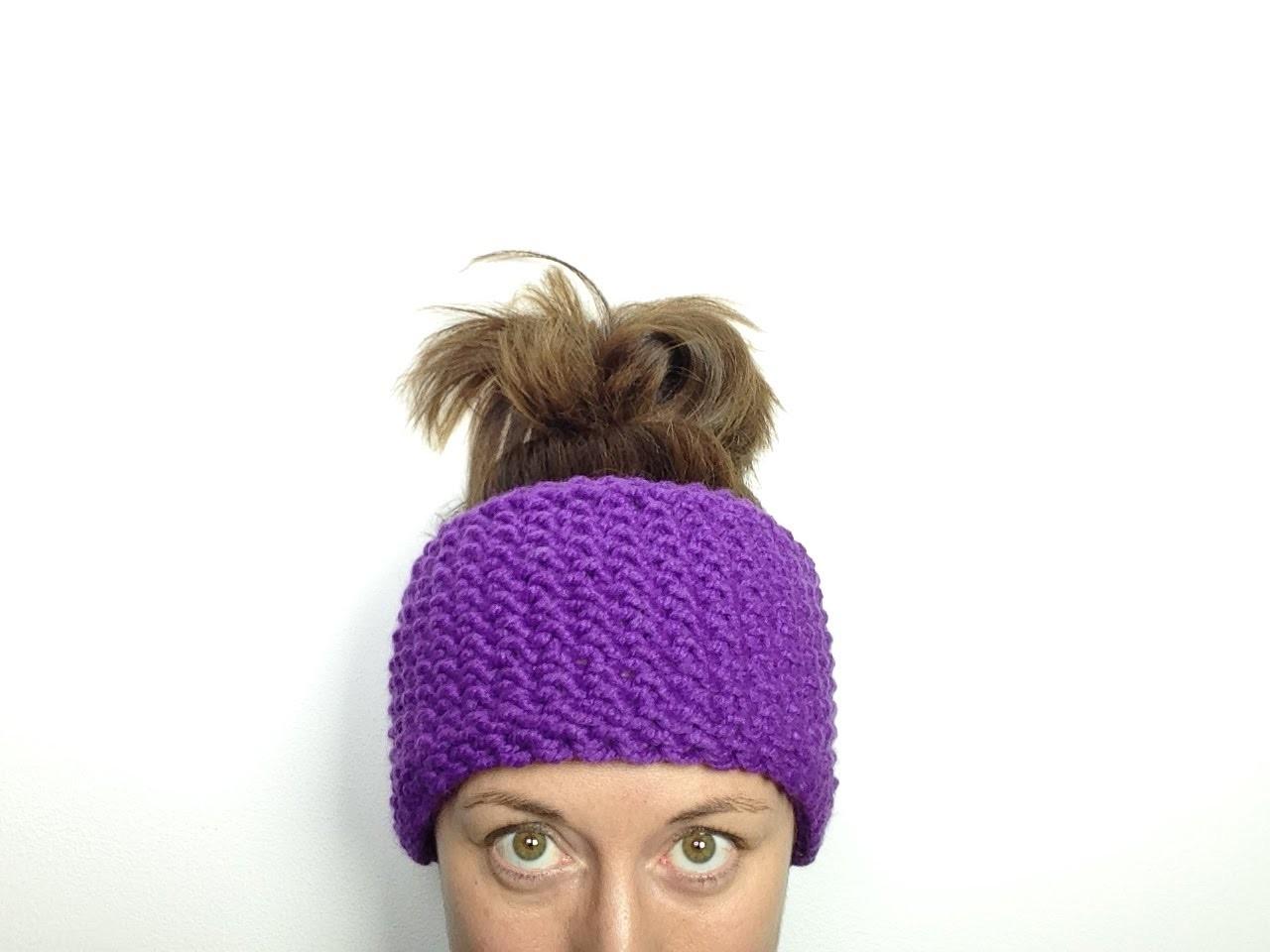 Cómo tejer con telar una cinta calentadora. diadema de lana en punto de arroz (Tutorial DIY)