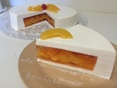 Gelatina de 3 Leches rellena de duraznos. Tres Leches JELLO with Peaches