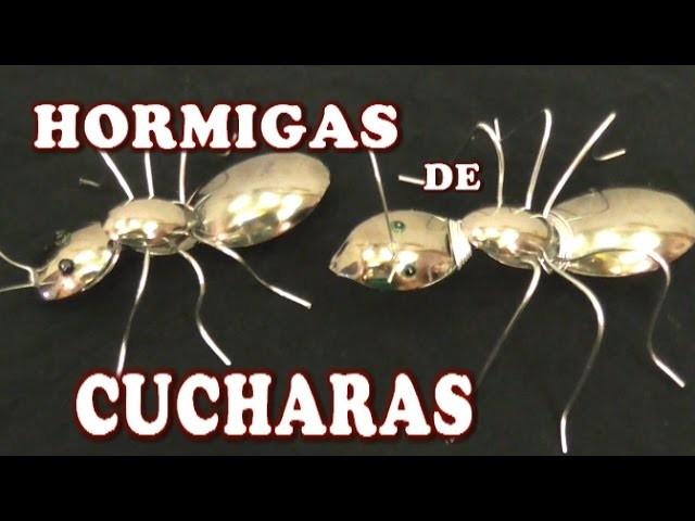 HORMIGAS HECHAS CON CUCHARAS PLASTICAS - ANTS MADE WITH PLASTIC SPOONS