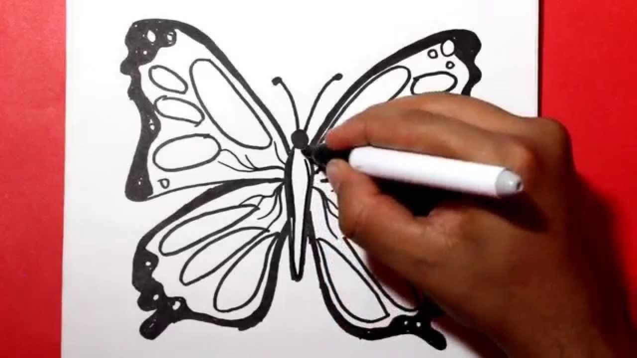 How to draw a butterfly -comodibujar una mariposa- como hacer una mariposa - dibujos para colorear