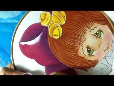 Pintura en tela niña nochebuena # 2  con cony