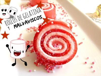POSTRE FÁCIL SIN HORNO: Rollos de gelatina y malvavisco con purpurina.Jello Rolls Glitter