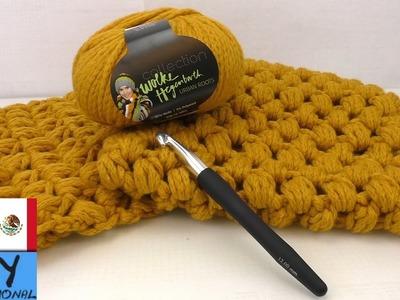 Tejido con diseño de pata de gallo - Cómo hacer una bufanda (español)