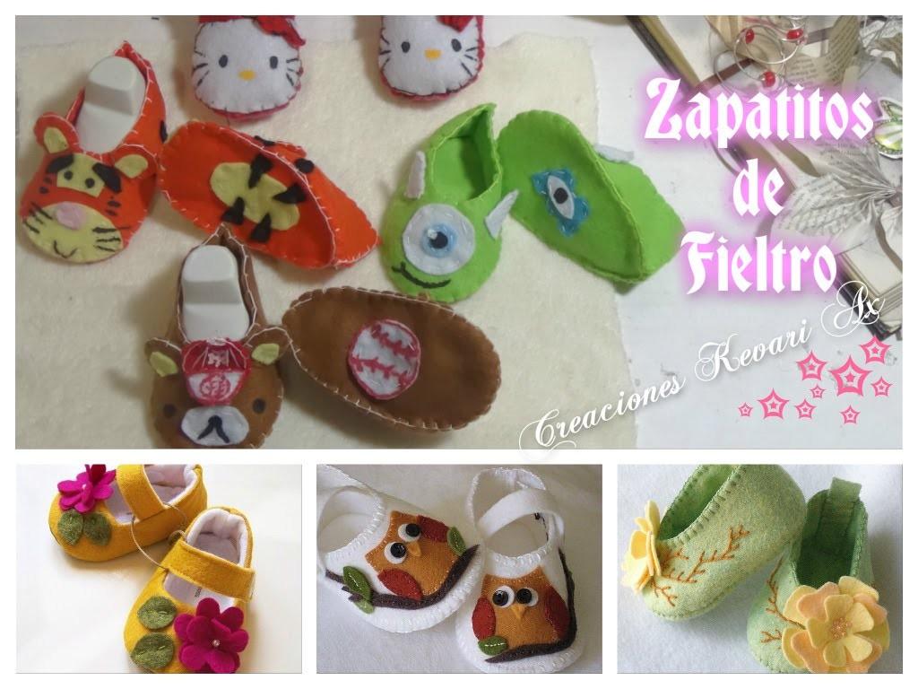 Zapatitos de Fieltro para bebe.patucos con patrón o moldes gratis.FELT BABY SHOES