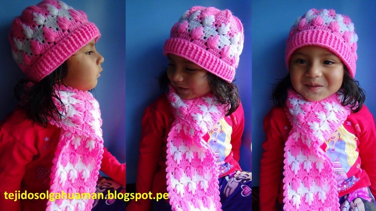 Chalina o bufanda tejido a crochet para niña paso a paso en punto arbolitos