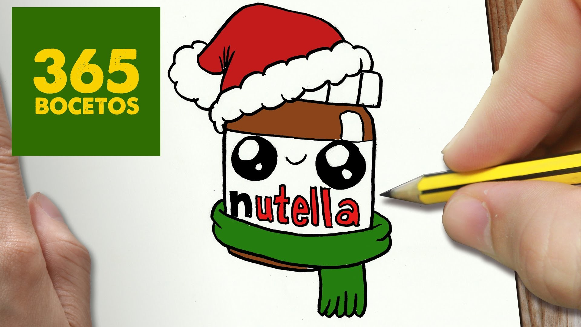 COMO DIBUJAR UN NUTELLA PARA NAVIDAD PASO A PASO: Dibujos kawaii navideños - How to draw a nutella