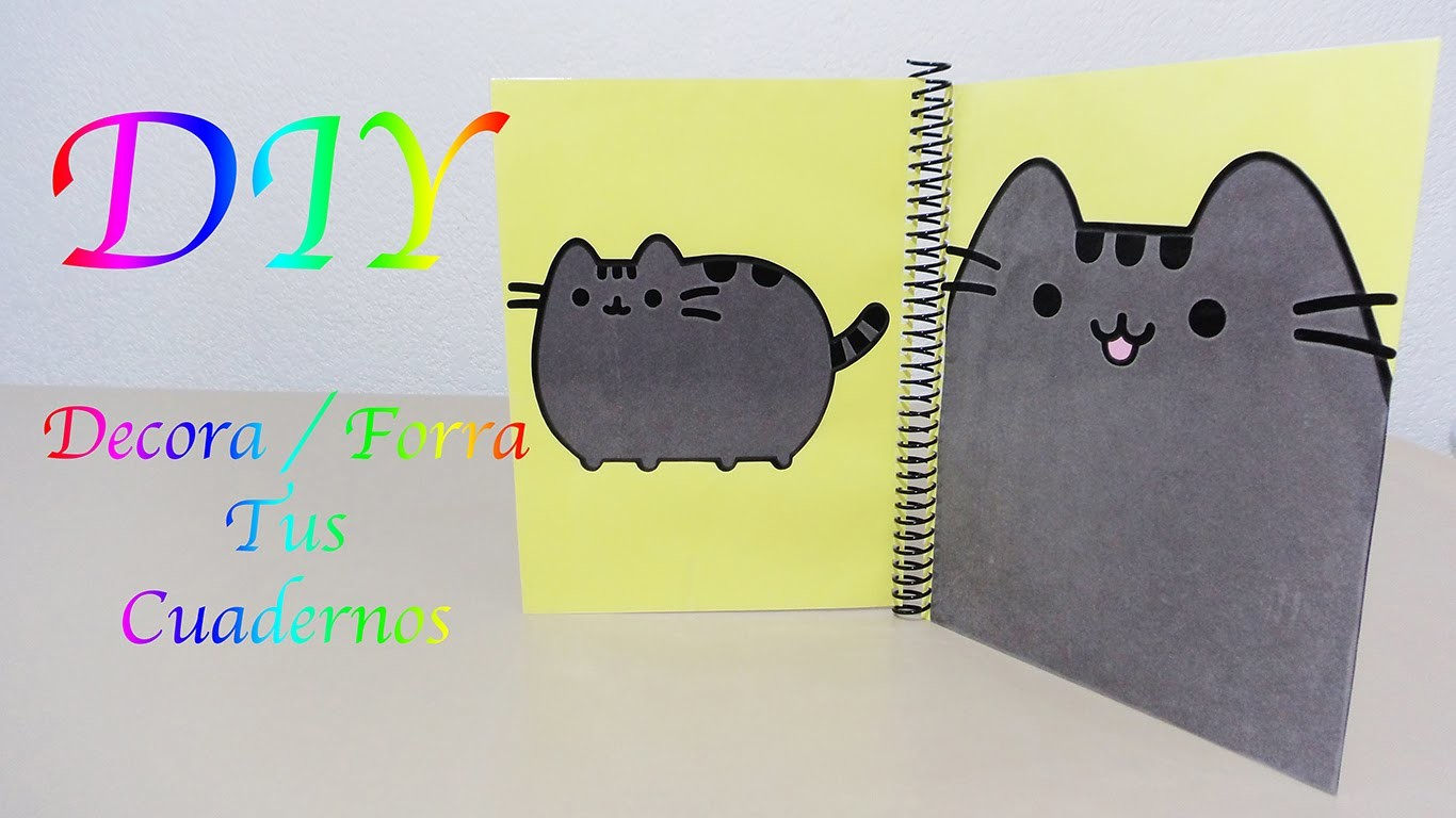DECORA. FORRA TUS CUADERNOS | PUSHEEN THE CAT | BACK TO SHOOL | KAWAII - YuureYCrafts