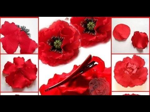 Flores de cinta de raso  - Como hacer flores amapolas de cintas de raso