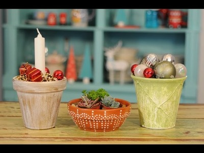 Ideas para decorar en Navidad - Pintar Macetas -