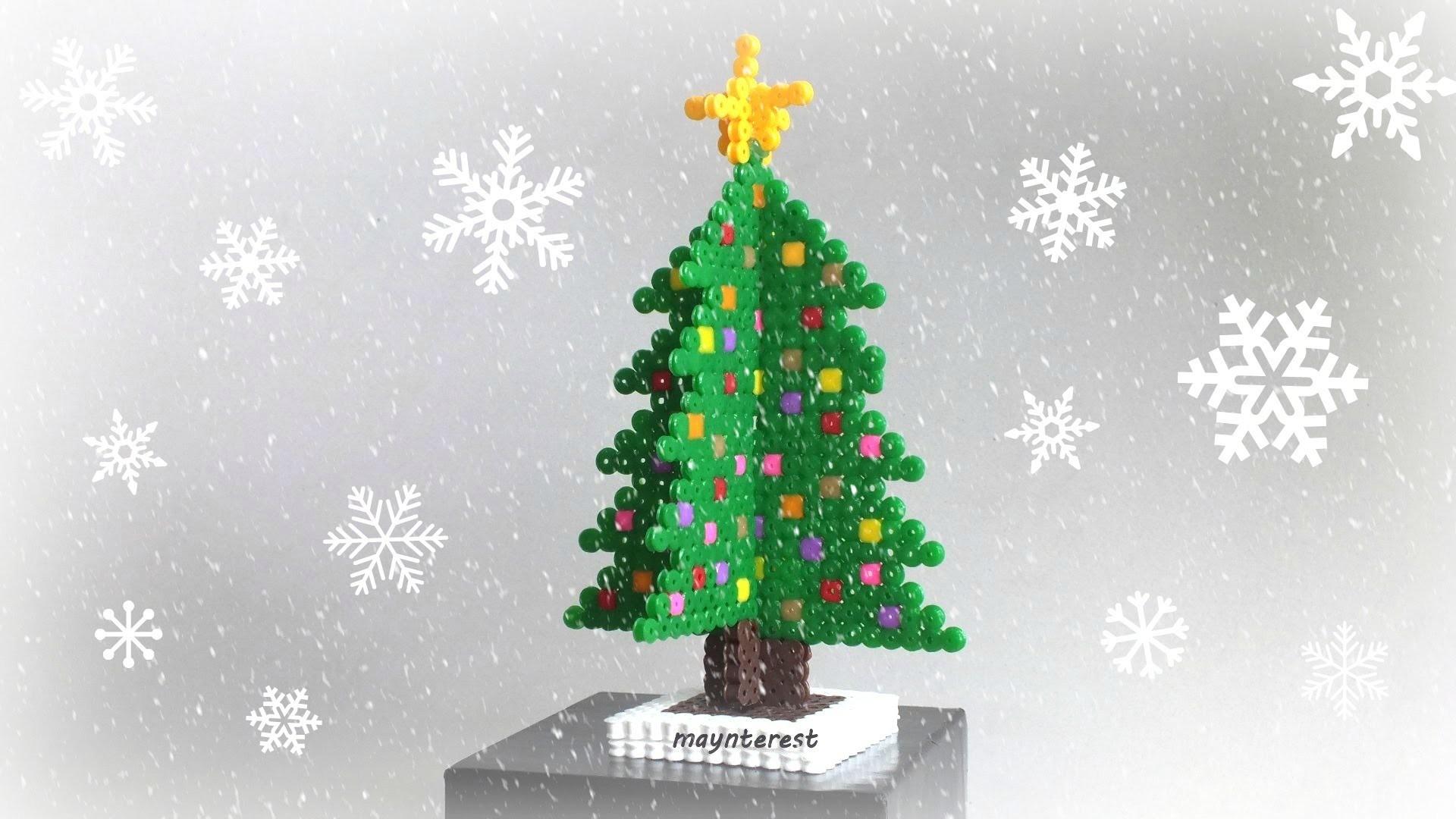 Manualidades Navidad: PINO o ÁRBOL DE NAVIDAD 3D de hama beads - Adorno navideño
