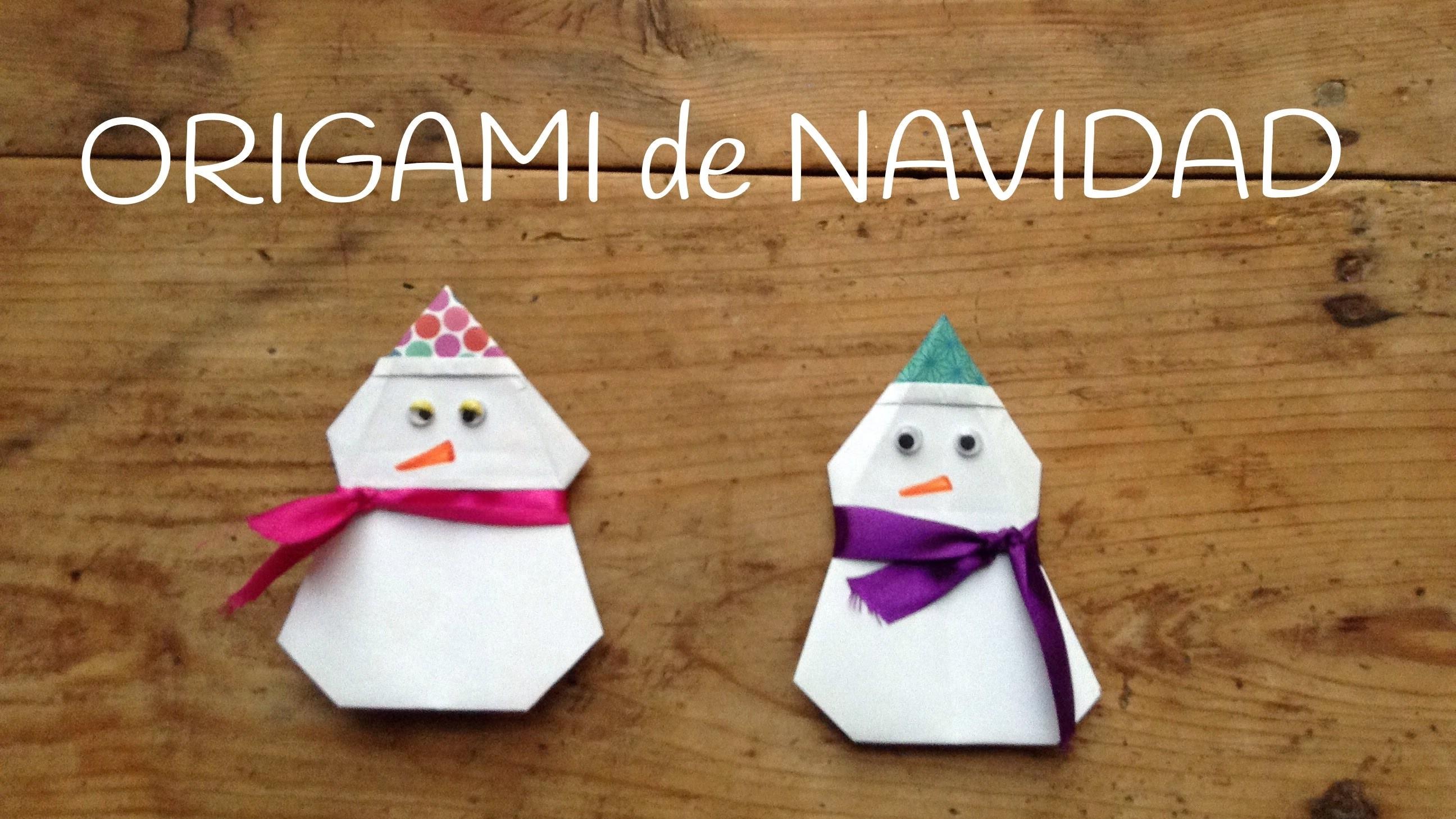 Origami fácil para niños: Muñeco de nieve - Manualidades Navideñas fáciles