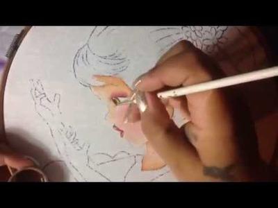 Pintura en tela niña margarita # 1 con cony