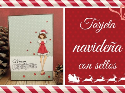 2 técnicas para colorear sellos. Cómo hacer una tarjeta de Navidad. Decimo de Navidad Ep. 7