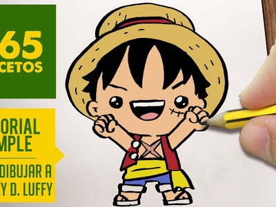 COMO DIBUJAR A LUFFY DE ONE PIECE KAWAII PASO A PASO - Dibujos kawaii faciles