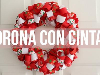 Especial de Navidad: ¿Cómo hacer una CORONA navideña con CINTAS?- Kathy Gámez
