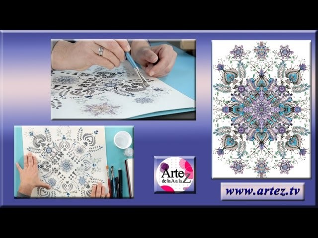Mandala con decoupage, stencil y acrílicos
