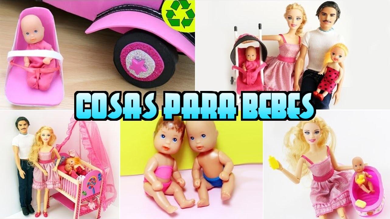 Recopilación 5 Manualidades para bebes de Barbie [pañales, bañera, cuna, silla, coche]