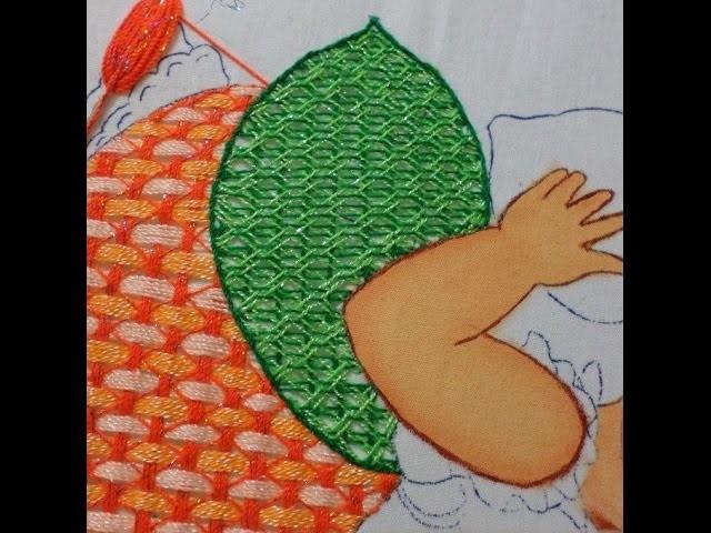 Bordado Fantasía Hoja Niña Durazno DIY