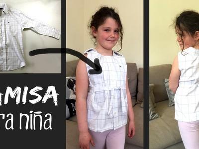 CAMISA reciclada para niña * Cómo RECICLAR una camisa de adulto