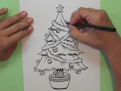 Cómo dibujar un árbol de navidad - How to draw Christmas Tree