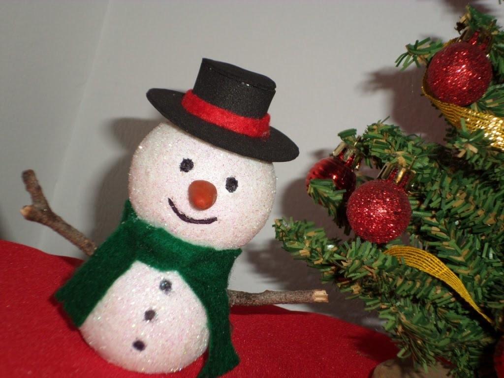 Como hacer un muñeco de nieve (adorno de navidad)