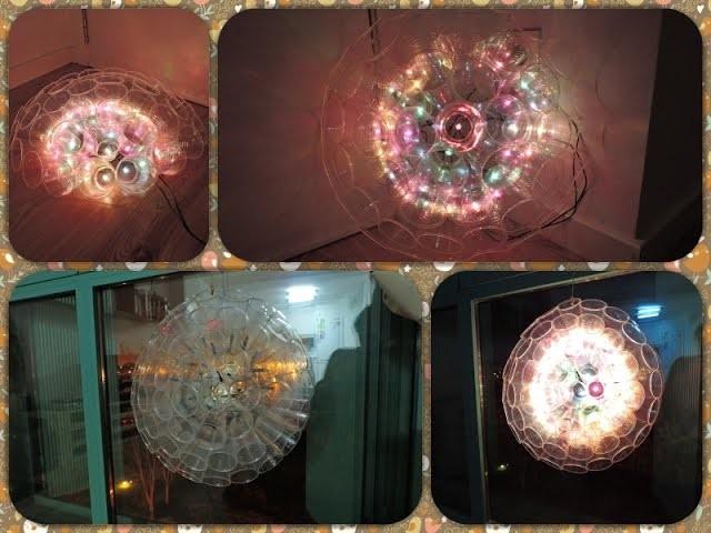 Manualidades. Lámpara de vasos para decorar con luces de Navidad