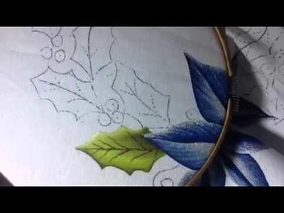 Pintura en tela nochebuena azul # 2 con cony