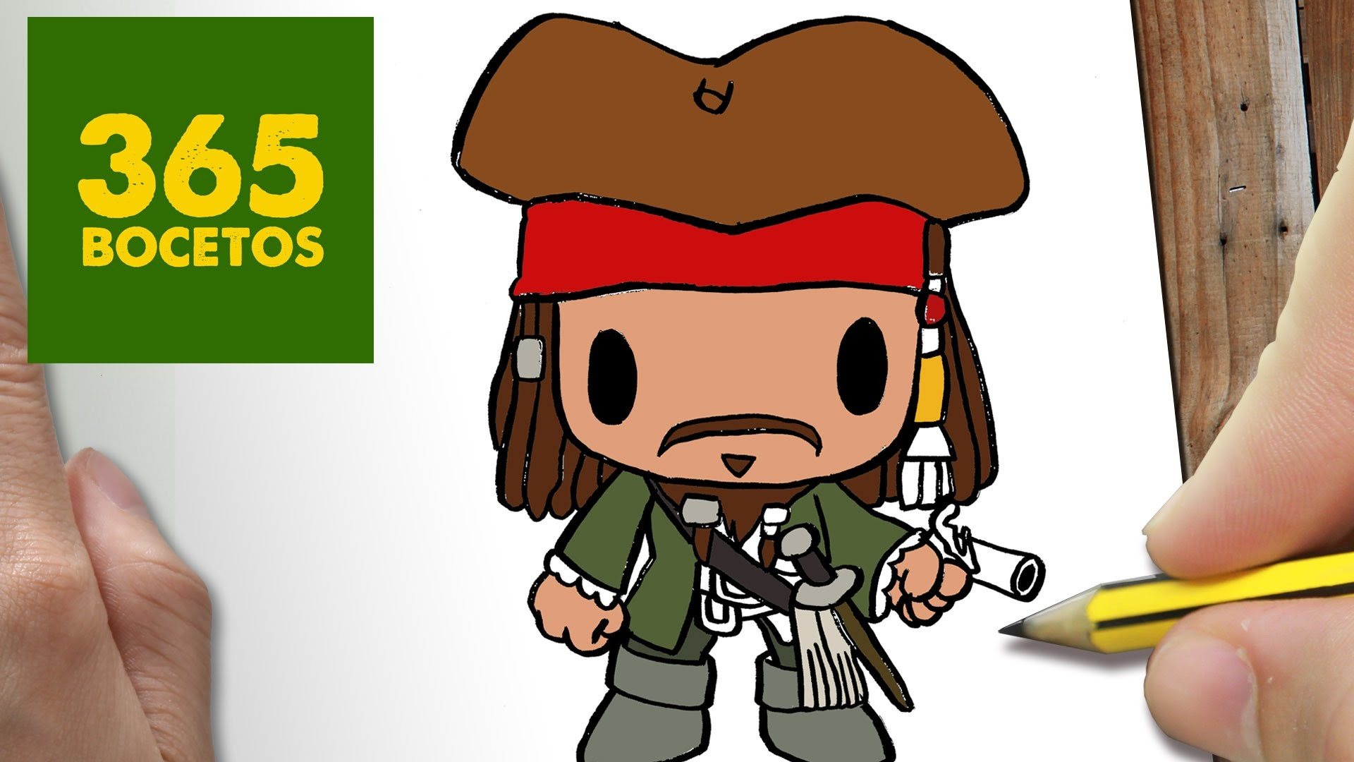 COMO DIBUJAR JACK SPARROW KAWAII PASO A PASO - Dibujos kawaii faciles - How to draw a JACK SPARROW