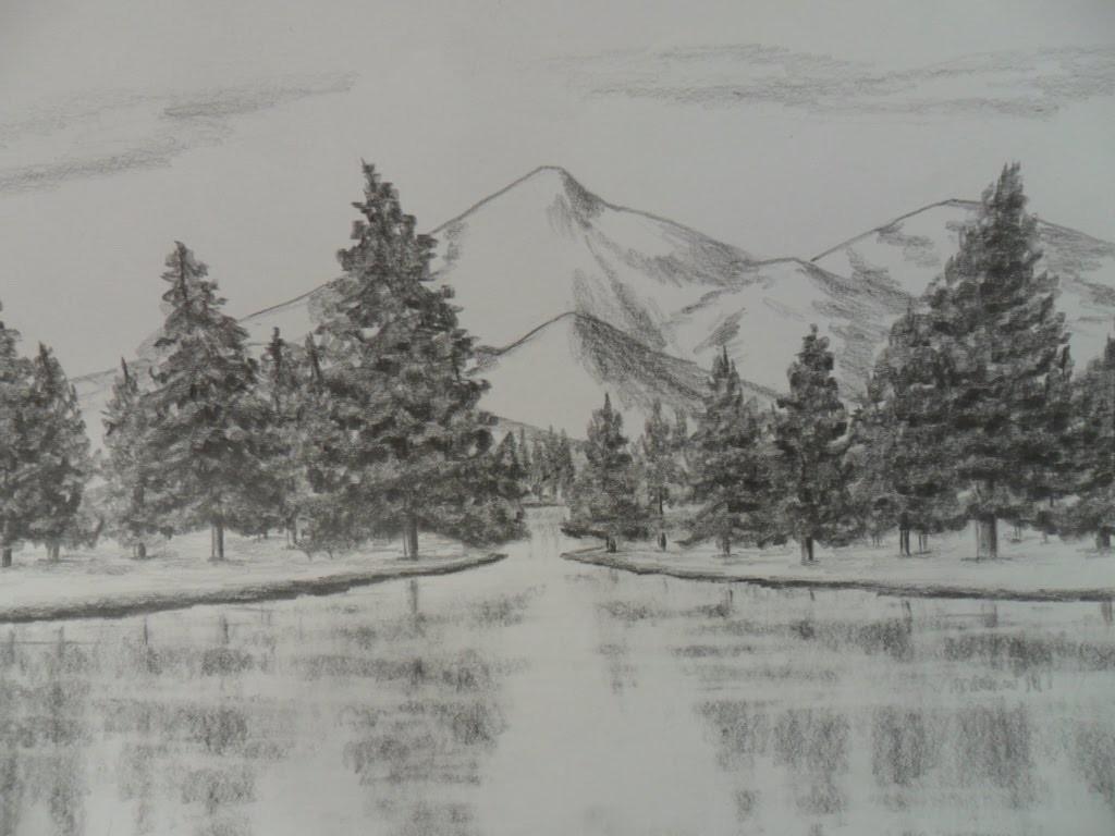 Como Dibujar un Paisaje a Lápiz, paso a paso: Agua, Árboles(pinos), y Montañas.