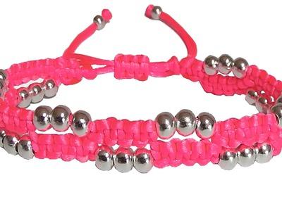 Como hacer pulseras de hilo con nudos de macrame y perlas o cuentas bisuteria tutorial