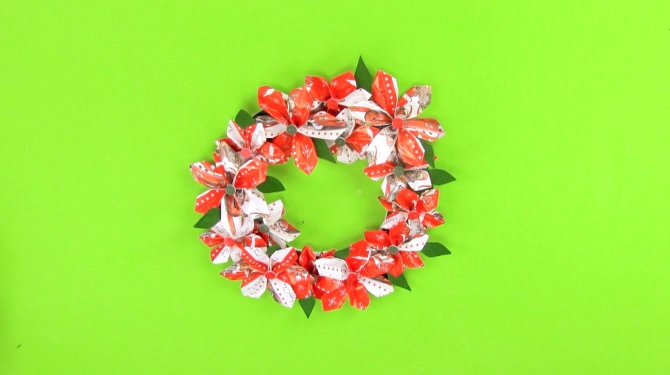 Cómo hacer una corona de Navidad con origami paso a paso