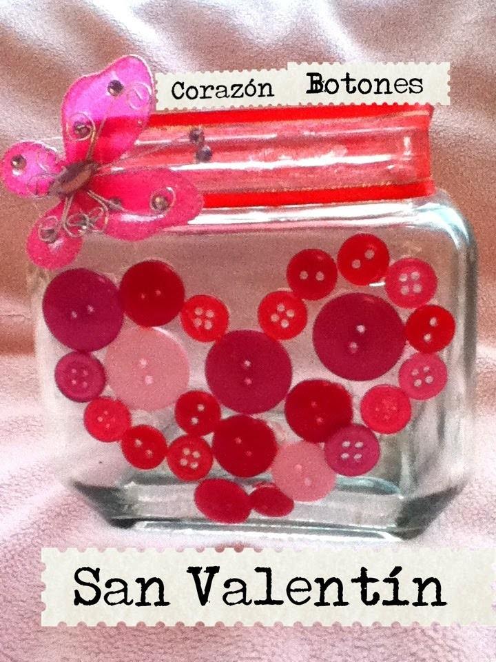 Corazón de botones frasco san Valentín dulces galletas florero