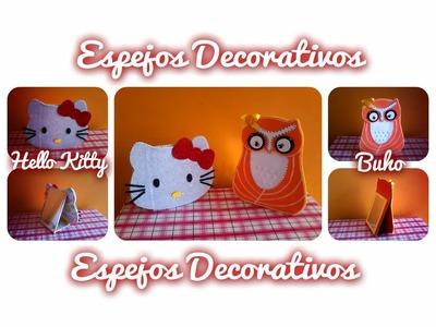 DIY ESPEJOS DECORATIVOS - HELLO KITTY  Y BUHO
