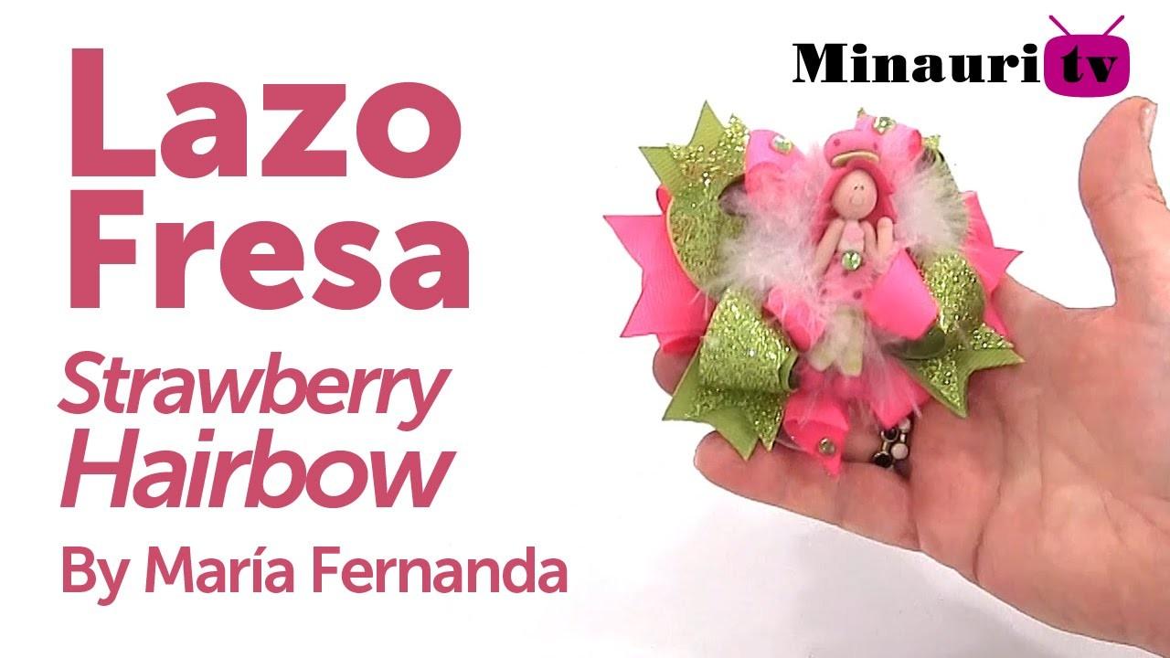 DIY - Lazo Fresita ( Moño Strawberry Hairbow )