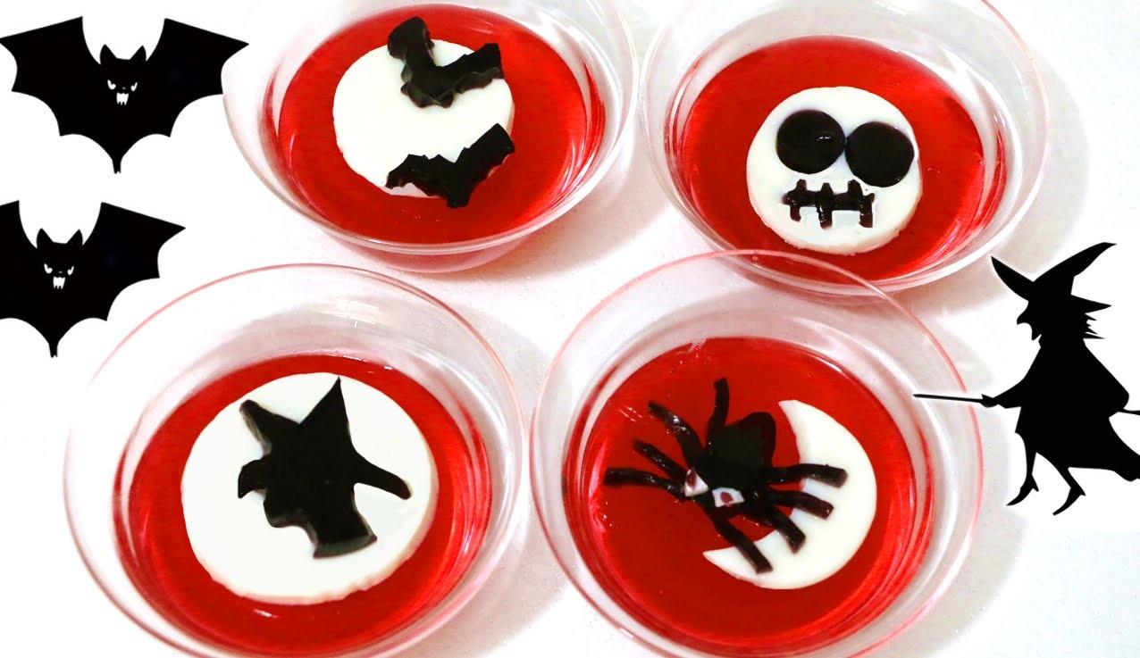 Gelatina o grenetina en 3D o en capas. Halloween jelly
