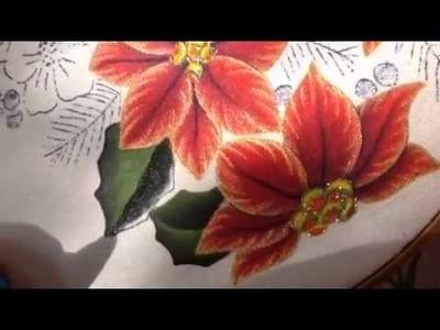 Pintura en tela hojas de nochebuena del oso # 2 con cony