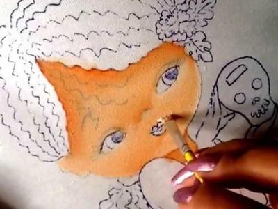 Pintura en tela niña cempasuchil # 1 con cony