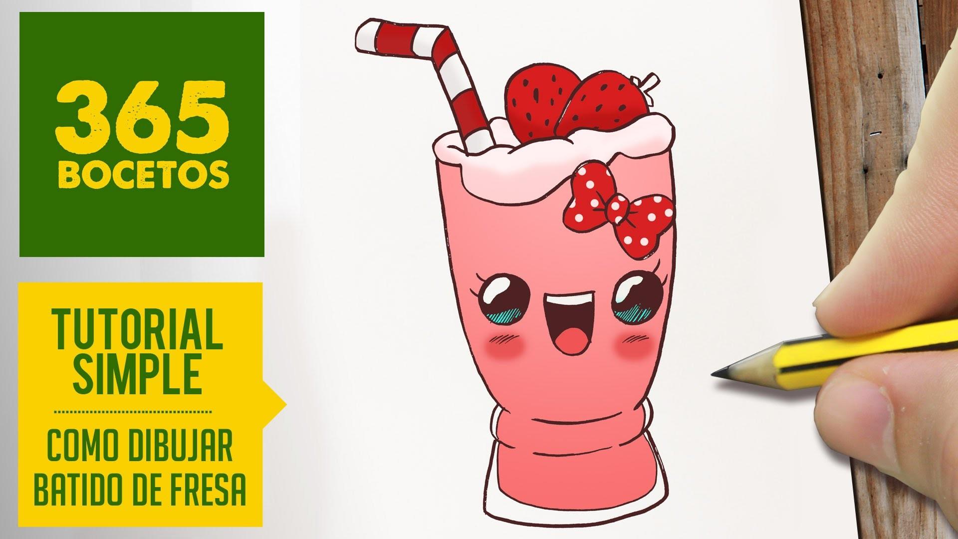 COMO DIBUJAR UN BATIDO DE FRESA KAWAII PASO A PASO - Dibujos kawaii faciles - Strawberry milkshake
