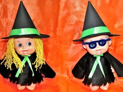 Cómo hacer disfraz de Halloween de bruja o Harry Potter para muñecos
