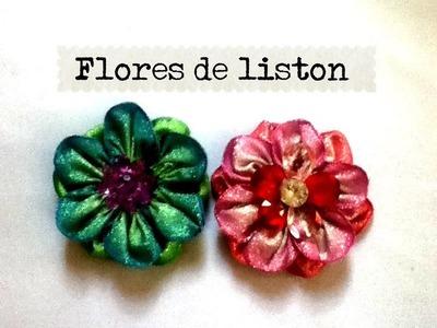 DIY Flor de listón nochebuena o normal juegos de baño  cinta flower liston