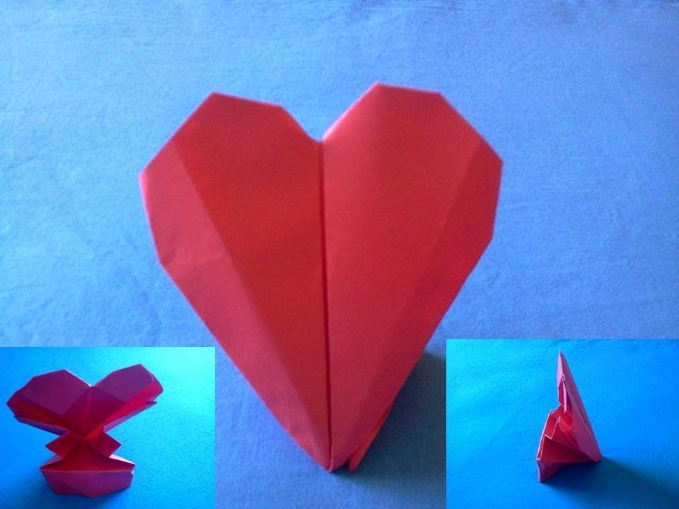 How to make an origami heart -  Como hacer un corazon de papel