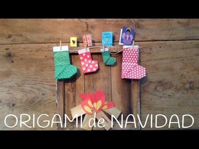 Origami fácil para niños: bota para decorar el árbol de Navidad