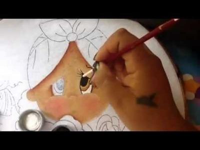 Pintura en tela niña platano # 1 con cony