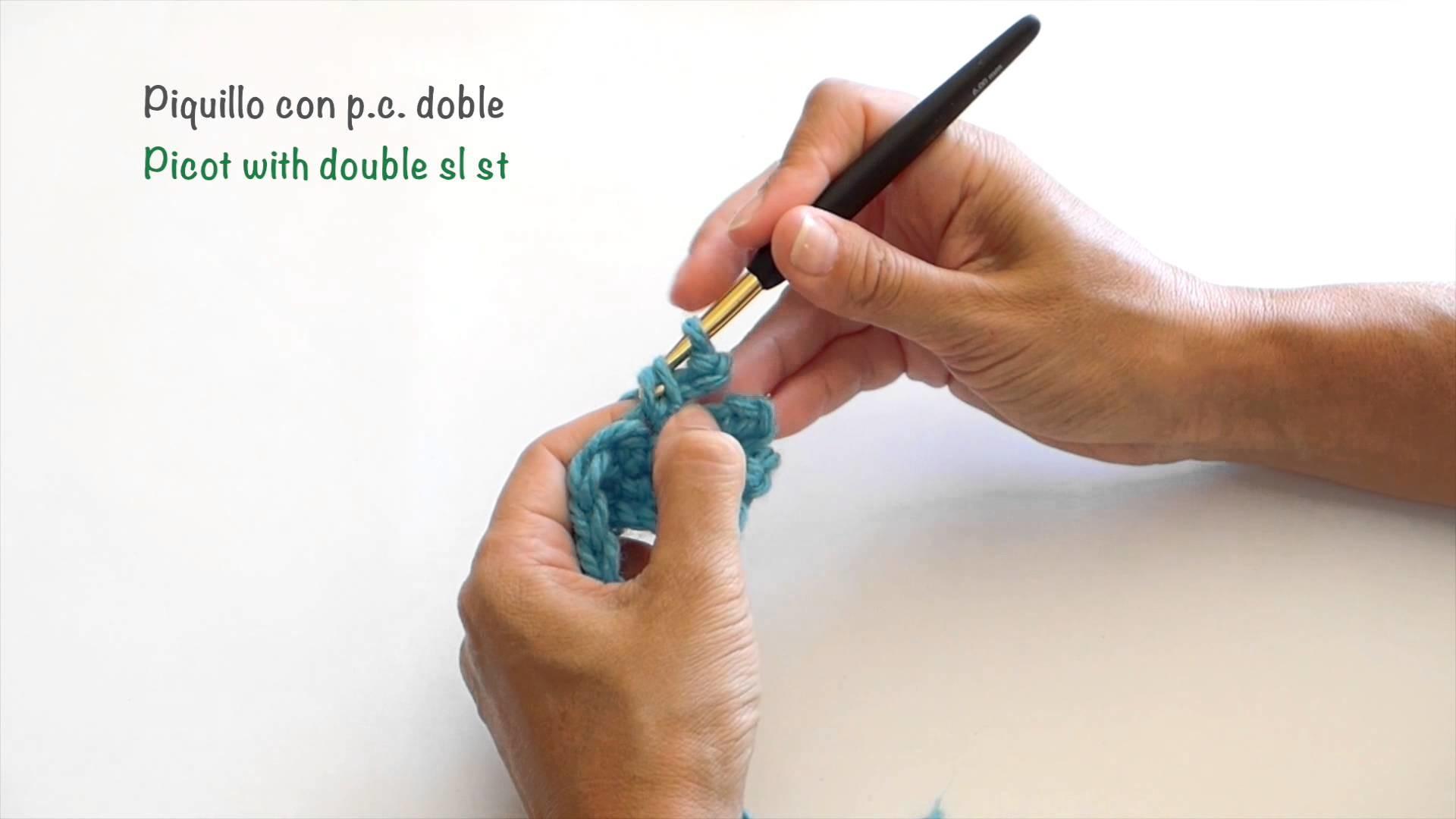 Piquillo con Punto corredizo doble. Picot with double slip stitch
