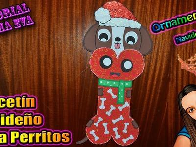 ♥ Tutorial: Calcetín Para Perro de Navidad de Goma Eva (Foamy) ♥